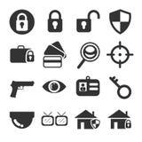 Sistema del icono de la seguridad Foto de archivo libre de regalías
