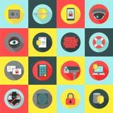 Sistema del icono de la seguridad y de la seguridad Fotos de archivo libres de regalías