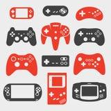 Sistema del icono de la silueta de Gamepad Foto de archivo libre de regalías