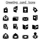 Sistema del icono de la tarjeta de felicitación Fotos de archivo libres de regalías