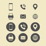 Sistema del icono de la tarjeta de visita Iconos del Web Fotos de archivo