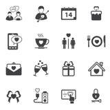 Sistema del icono de la tarjeta del día de San Valentín del amor Fotografía de archivo libre de regalías