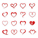 Sistema del icono de la tarjeta del día de San Valentín del corazón ilustración del vector