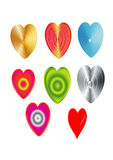 Sistema del icono de la tarjeta del día de San Valentín del corazón Fotos de archivo