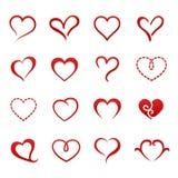Sistema del icono de la tarjeta del día de San Valentín del corazón Foto de archivo