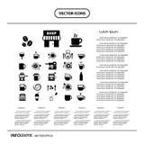 Sistema del icono de la taza y del café Imagen de archivo libre de regalías