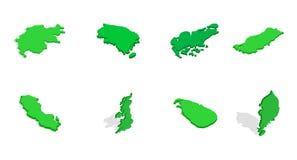 Sistema del icono de la tierra del país, estilo isométrico ilustración del vector