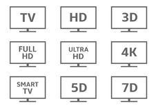 Sistema del icono de la TV Foto de archivo