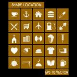Sistema del icono de la ubicación de la parte Fotografía de archivo libre de regalías