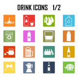Sistema del icono de las bebidas Stock de ilustración