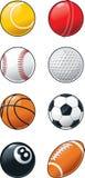 Sistema del icono de las bolas de los deportes stock de ilustración
