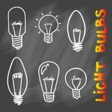 Sistema del icono de las bombillas concepto de inspiración grande de las ideas, innovati Foto de archivo libre de regalías