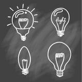Sistema del icono de las bombillas concepto de inspiración grande de las ideas, innovati Fotos de archivo libres de regalías
