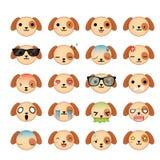 Sistema del icono de las caras del smiley del perro Foto de archivo libre de regalías