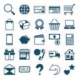 Sistema del icono de las compras de Internet en estilo plano del diseño Fotos de archivo libres de regalías