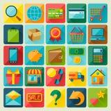 Sistema del icono de las compras de Internet en estilo plano del diseño Foto de archivo libre de regalías