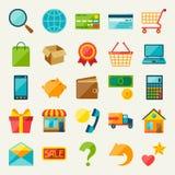 Sistema del icono de las compras de Internet en estilo plano del diseño Fotografía de archivo libre de regalías