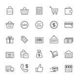 Sistema del icono de las compras del movimiento del esquema Imagen de archivo