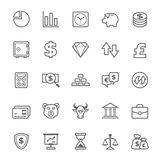 Sistema del icono de las finanzas y de la acción del movimiento del esquema Foto de archivo libre de regalías