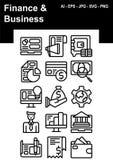 Sistema del icono de las finanzas y del negocio ilustración del vector