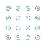 Sistema del icono de las flechas y de los símbolos Fotografía de archivo libre de regalías