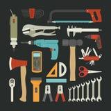Sistema del icono de las herramientas de la mano, diseño plano Foto de archivo