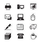 Sistema del icono de las herramientas de la oficina de negocios Foto de archivo libre de regalías