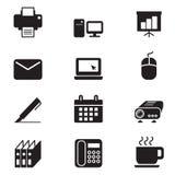 Sistema del icono de las herramientas de la oficina de negocios de la silueta Imagen de archivo