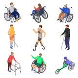 Sistema del icono de las incapacidades de las personas del día, estilo isométrico stock de ilustración
