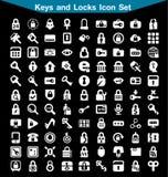 Sistema del icono de las llaves y de las cerraduras Imágenes de archivo libres de regalías
