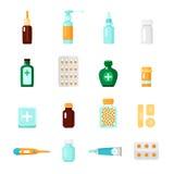 Sistema del icono de las medicaciones Imágenes de archivo libres de regalías