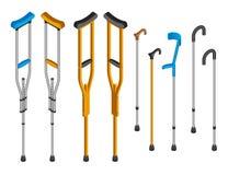 Sistema del icono de las muletas de lesión, estilo isométrico libre illustration
