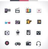 Sistema del icono de las multimedias del vector stock de ilustración
