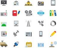 Sistema del icono de las noticias, del periodismo, de la comunicación y de los medios Foto de archivo libre de regalías