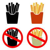 Sistema del icono de las patatas fritas del vector Fotos de archivo libres de regalías