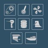 Sistema del icono de las piezas del barco Fotos de archivo libres de regalías