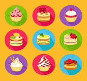 Sistema del icono de las tortas Foto de archivo libre de regalías