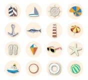Sistema del icono de las vacaciones de la playa del verano Fotografía de archivo libre de regalías