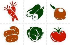 Sistema del icono de las verduras Foto de archivo libre de regalías