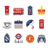 Sistema del icono de Londres y de Inglaterra ilustración del vector