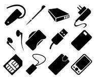 Sistema del icono de los accesorios del teléfono móvil foto de archivo