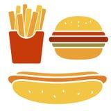Sistema del icono de los alimentos de preparación rápida del vector Foto de archivo