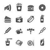 Sistema del icono de los alimentos de preparación rápida, vector eps10 Foto de archivo libre de regalías