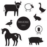 Sistema del icono de los animales del campo libre illustration