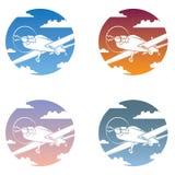 Sistema del icono de los aviones Fotografía de archivo libre de regalías