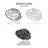 Sistema del icono de los cerebros Fotografía de archivo
