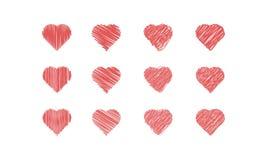 Sistema del icono de los corazones del garabato Imagenes de archivo
