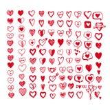 Sistema del icono de los corazones Ilustración drenada mano Imagenes de archivo