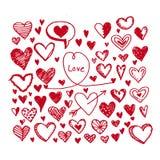 Sistema del icono de los corazones Ilustración drenada mano Fotografía de archivo