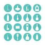 Sistema del icono de los cosméticos Fotografía de archivo libre de regalías